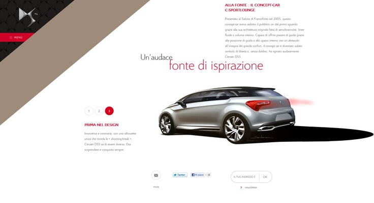 #webdesign   Sito dedicato alla CitroenDS5.   Stile minimalista e sviluppo in html5/css3