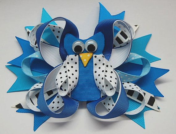 owl hair bow. blue ribbon hair bow . barrette by ROSHELYSBOWTIQUE, $8.00