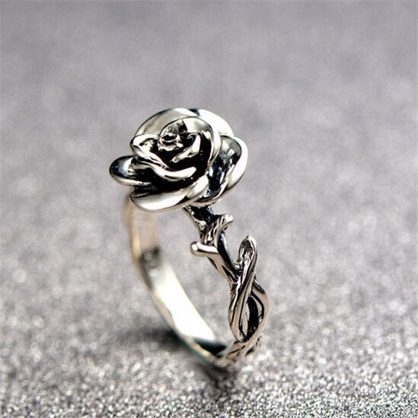 Eye Catching Silver Rose Fashion Ring  - $58.99