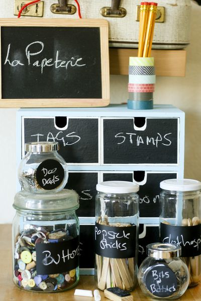 Versatile chalkboard paint labels - use the IKEA little drawer thingy and do this to organize all the little crap around the desk