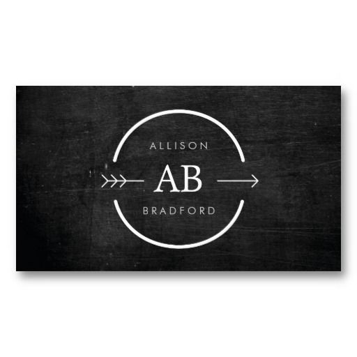 HIP MONOGRAM LOGO with ARROW on BLACK WOOD Customizable Personal Business Card Template