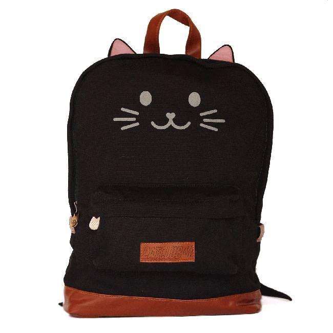 Mochila de orelhinha, gato preto - Cat Club