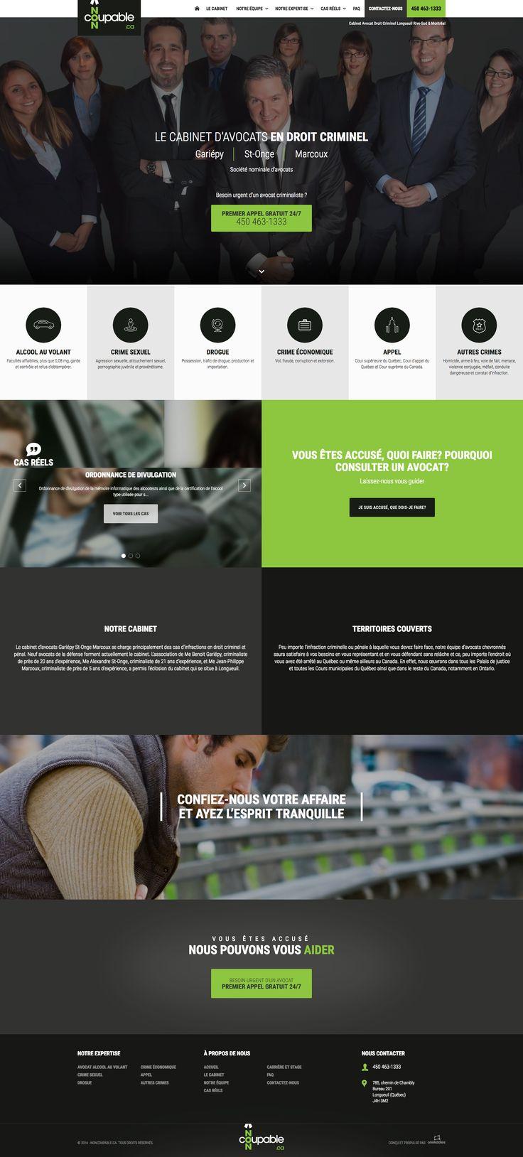 Nos Réalisations: Site web du cabinet d'avocats en droit criminel Gariépy, St-Onge, Marcoux #webdesign #avocat #droit