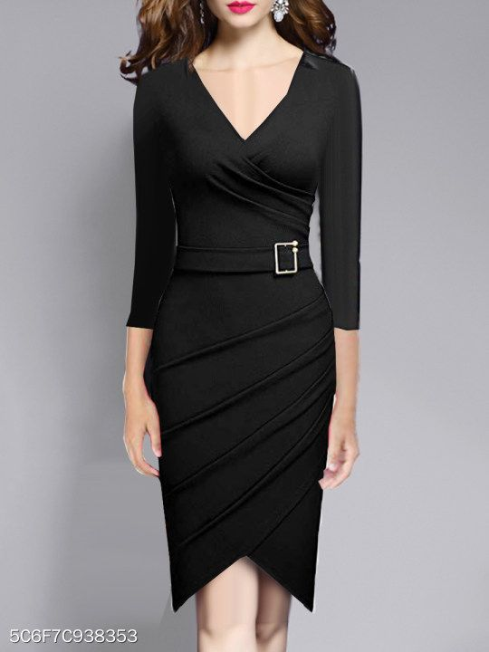 e3587284eb4b V Neck Plain Bodycon Dress  berrylook  winter  fall  fashion  trends   styles  winter  clothes  fashionista
