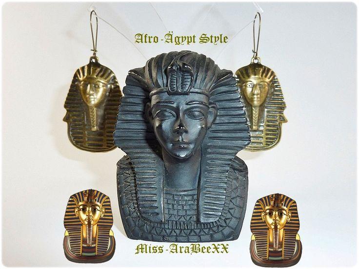 Ägyptische Tutanchamun Ohrringe Bronze, Ethno, Boho, Afro-Ägypt, Afrikanisch/Ägyptisch, Unisex Ohrschmuck für Sie & Ihn, Weihnachtsgeschenk von MissAraBeeXX auf Etsy