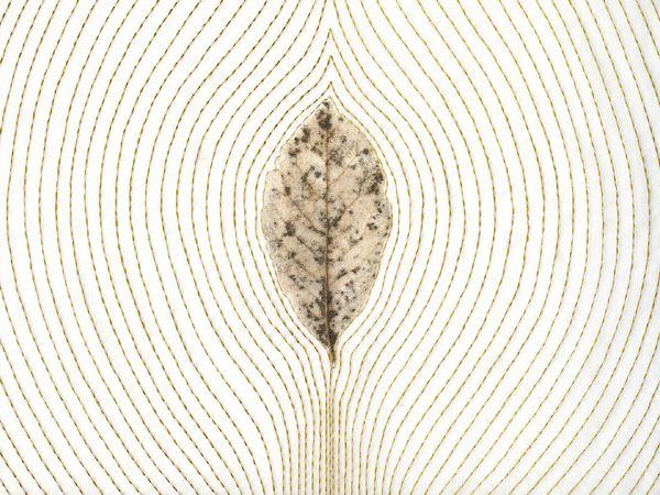 Remains VIII-1, 2009 - leaf. silk organza, thread - by Kyoung Ae Cho