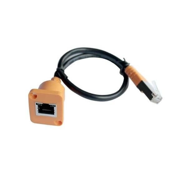Cat5 Rj45 Network Cable Extender Connector Panel Mount Female To Male Extension Cable 30cm Orange Color