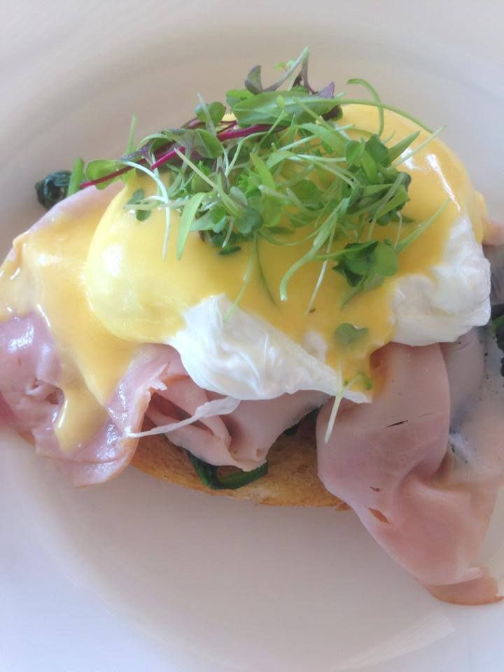 Eggs Benedict - Poached free range eggs on sourdough with spinach & shaved ham & hollandaise :: Also available with smoked salmon :: #breakfast http://www.evesontheriver.com/menus/breakfast