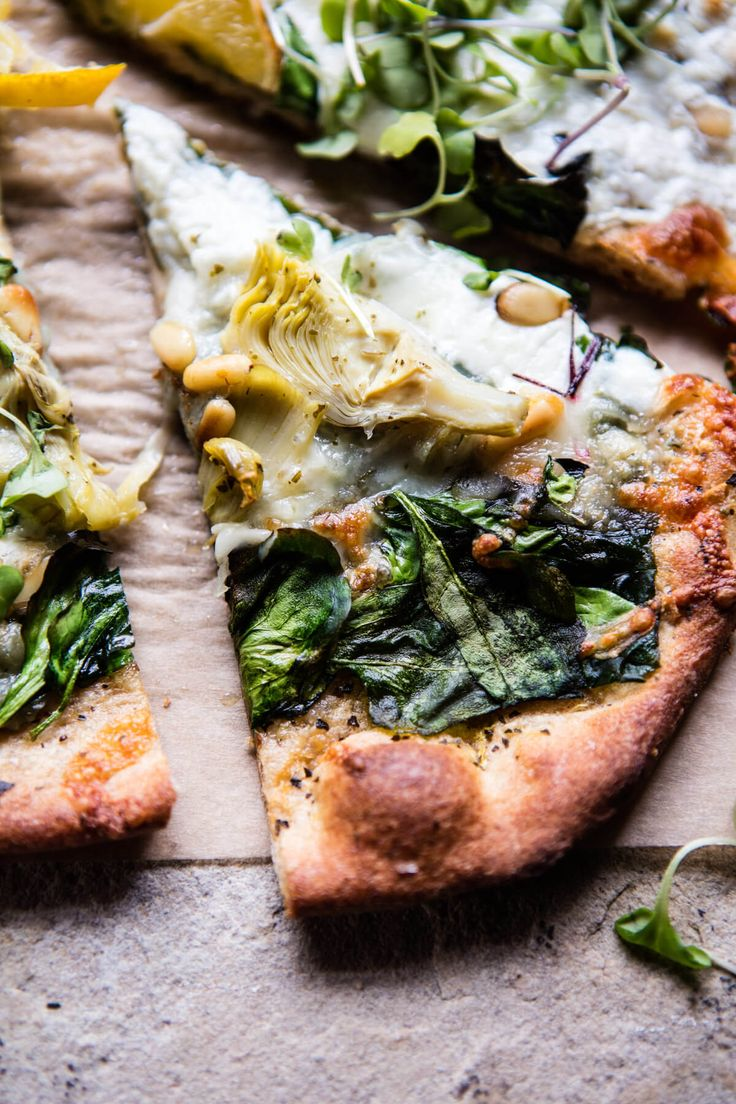 Whole Wheat Spinach and Artichoke Pizza | halfbakedharvest.com @hbharvest