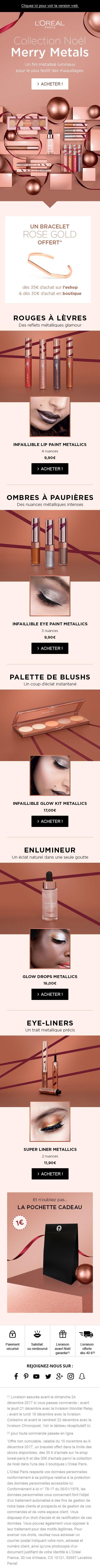 #lorealparis #newsletter  #emailing#loreal #cosmetics #merrymetals #rosegold #beauty #makeup #lip #eyes #christmas