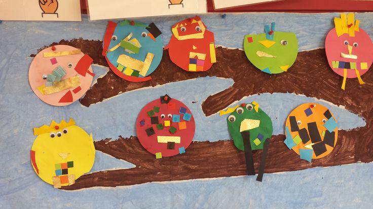 Vogels. Eigen creatie van de kinderen.