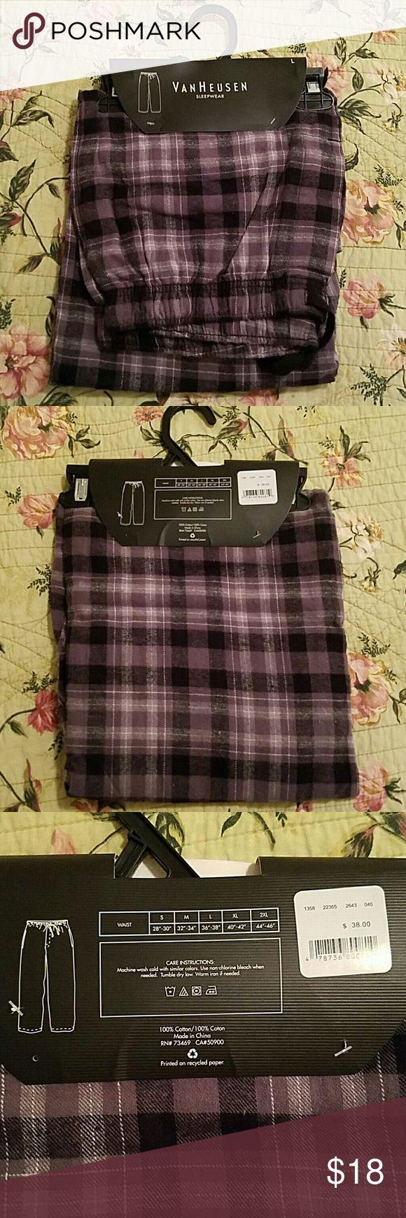 New Van Heusen Men's Sleep Pants Brand New With Tags Men's Van Heusen Sleep Pants. Size Large. Elasticized Waist With Tie Closure. Full Length. 100% Cotton. Size Chart in Photo 3. Van Heusen  Pants Sweatpants & Joggers