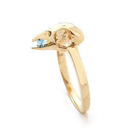 Bird Skull with Crystal Ring - Gold