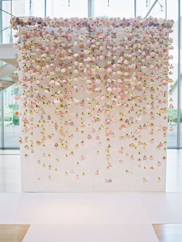 Spring wedding ceremony backdrop idea - pink, floral backdrop for wedding  {LOLA Event Productions}