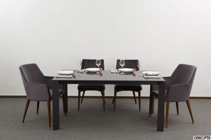 Dining chairs Brighton and dining table Gloss Grey Glass