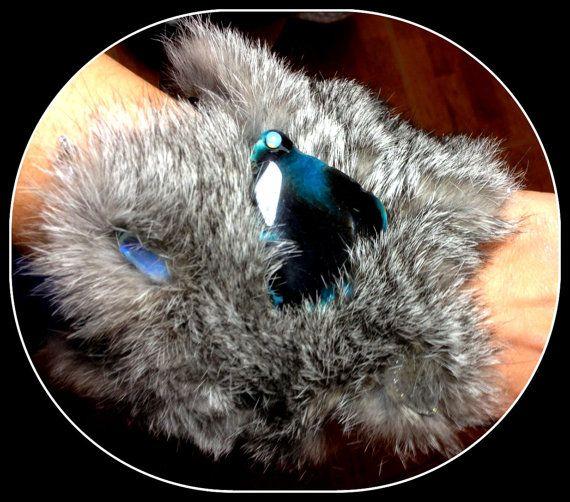 Fluffy rabbit fur bracelet with agates crystal by Gemsplusleather, $69.00