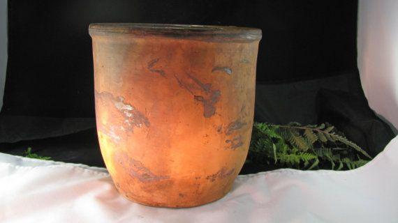 Antique Redware Pottery Jar pot, poterie Primitive Folk Art, 19ème siècle bocal de beurre de pomme, gelée de Cabinet, Collection de poterie, ferme