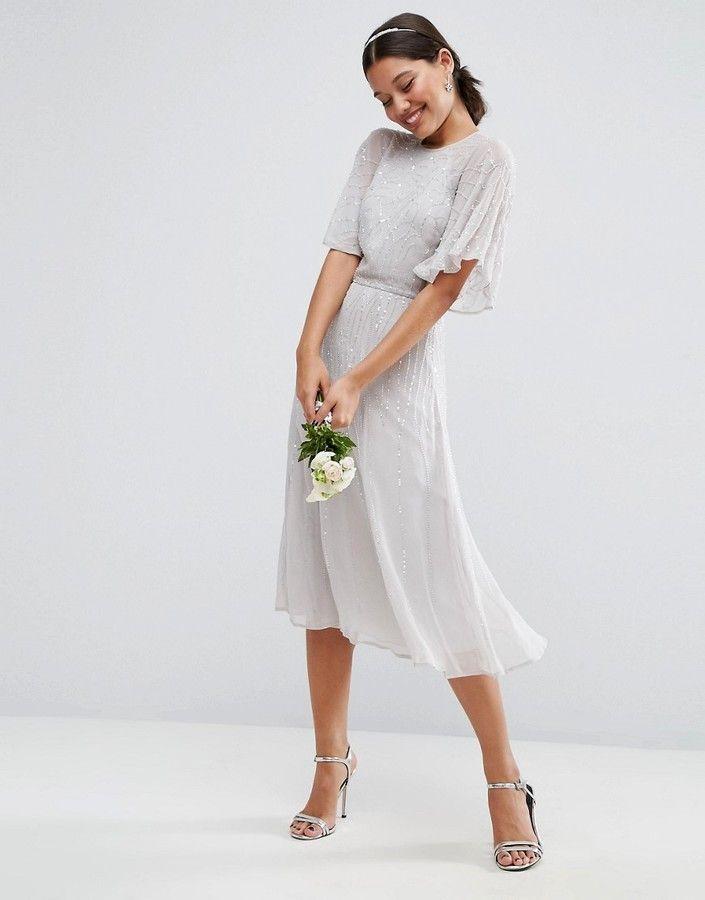 Asos Wedding Embellished Flutter Sleeve Midi Dress