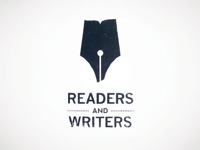 by Rebecca Sandlant Logo and business card for Readers & Writers, a quaint second hand writing supplies and bookstore in Chicago
