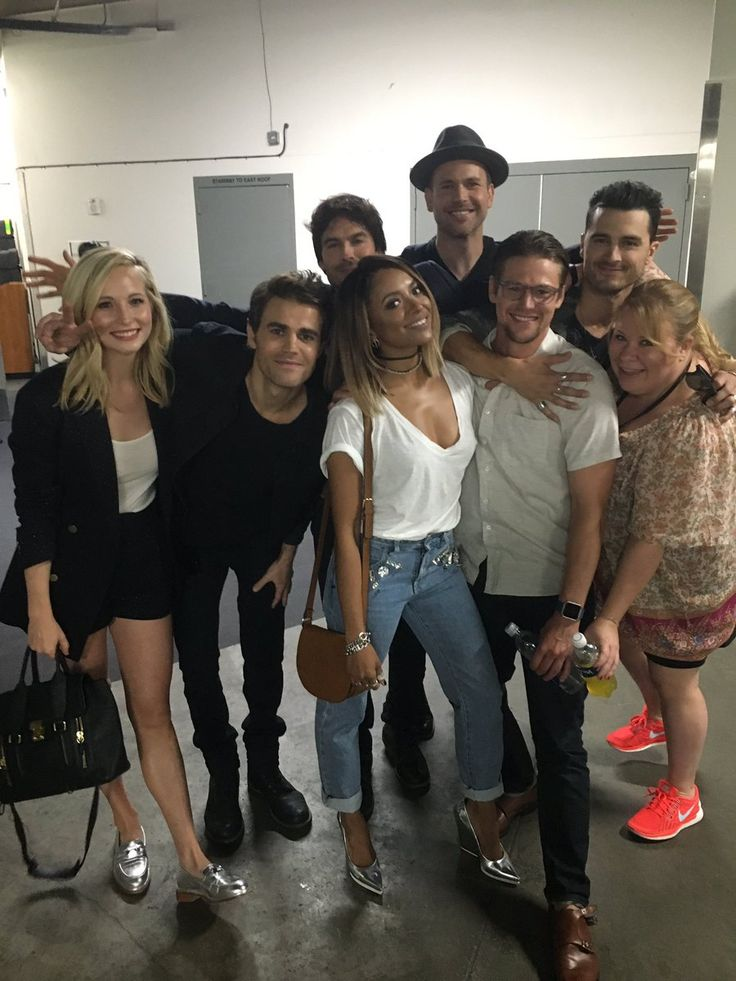 Candice King, Paul Wesley, Ian Somerhalder, Kat Graham, Matt Davis, Zach Roerig, Michael Malarkey, and Julie Plec