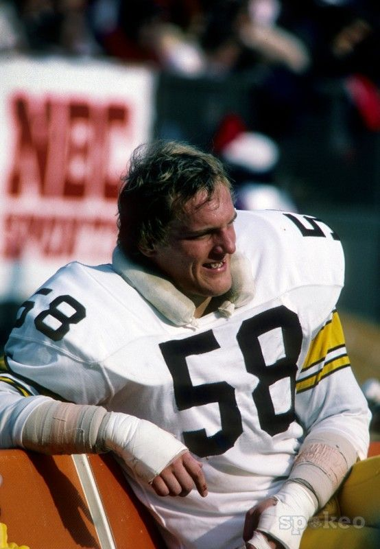 Pittsburgh Steelers linebacker Jack Lambert (58) on the sideline during the 1975 season.
