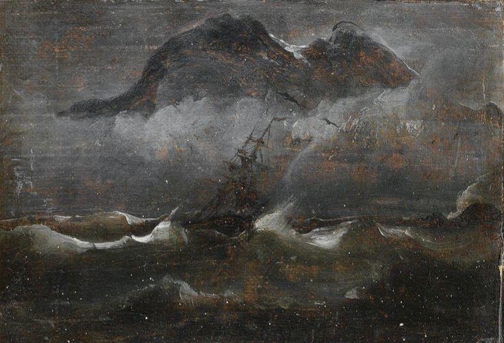 Peder Balke (1804-1887), Seilbåt i kystlandskap (ship in a coastal landscape)