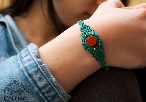 Turquoise coral macrame bracelet boho hippie by CallistoMacrame