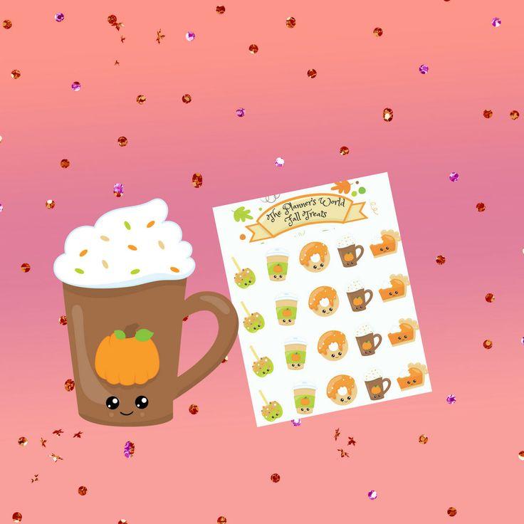 Fall Treats Sticker sheet - planner stickers - autumn stickers - coffee stickers - apple stickers - food stickers - pie stickers - fast food by ThePlannersWorld on Etsy