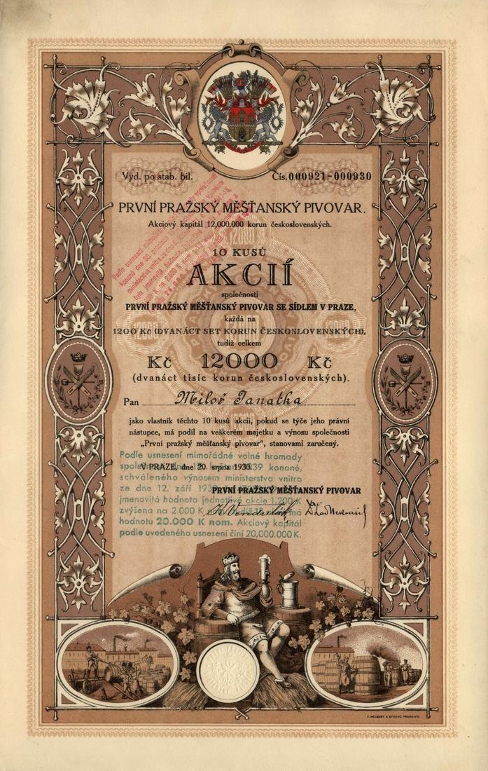 První pražský měšťanský pivovar (Erstes Prager Bürgerliches Bräuhaus). Akcie na 10x 1 200 Kč (12 000 Kč). Praha, 1930.
