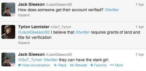 How Jack Gleeson responded to this tweet:
