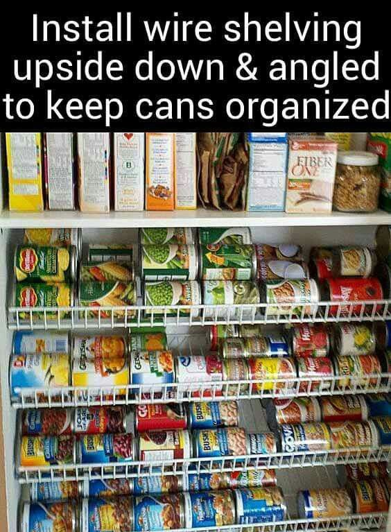 Install shelving upside down for cans #organization #pantry
