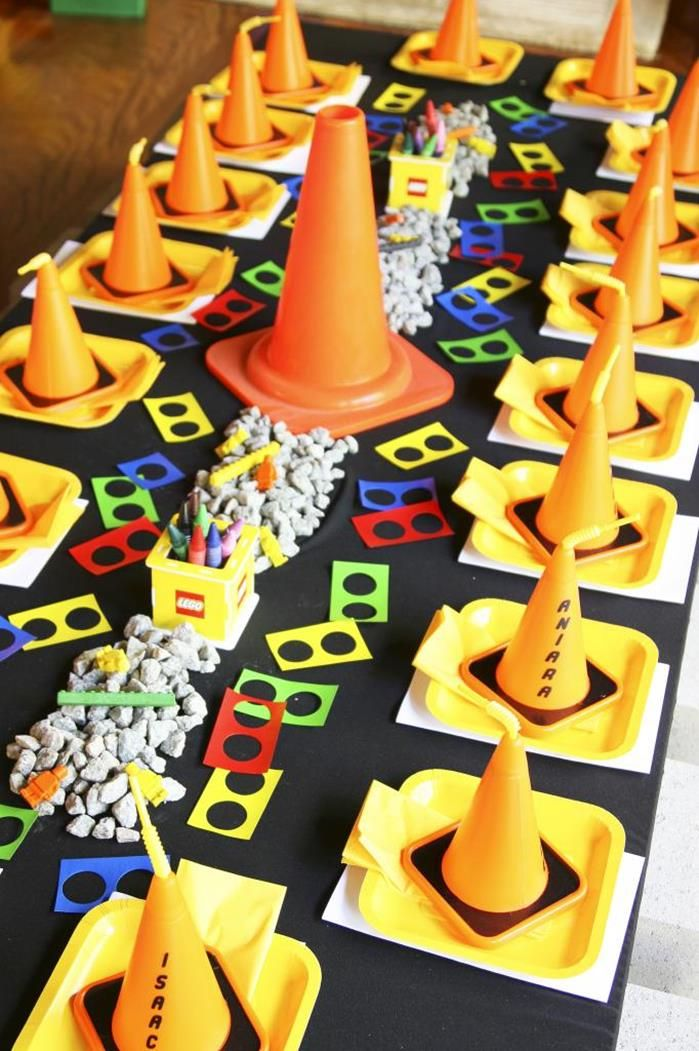 consruction birthday decor | Lego Construction Birthday Party via Kara's Party Ideas #lego # ...