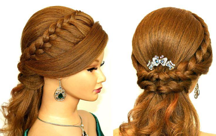 Easy prom hairstyles for medium long hair. Romantic bridal hair tutorial