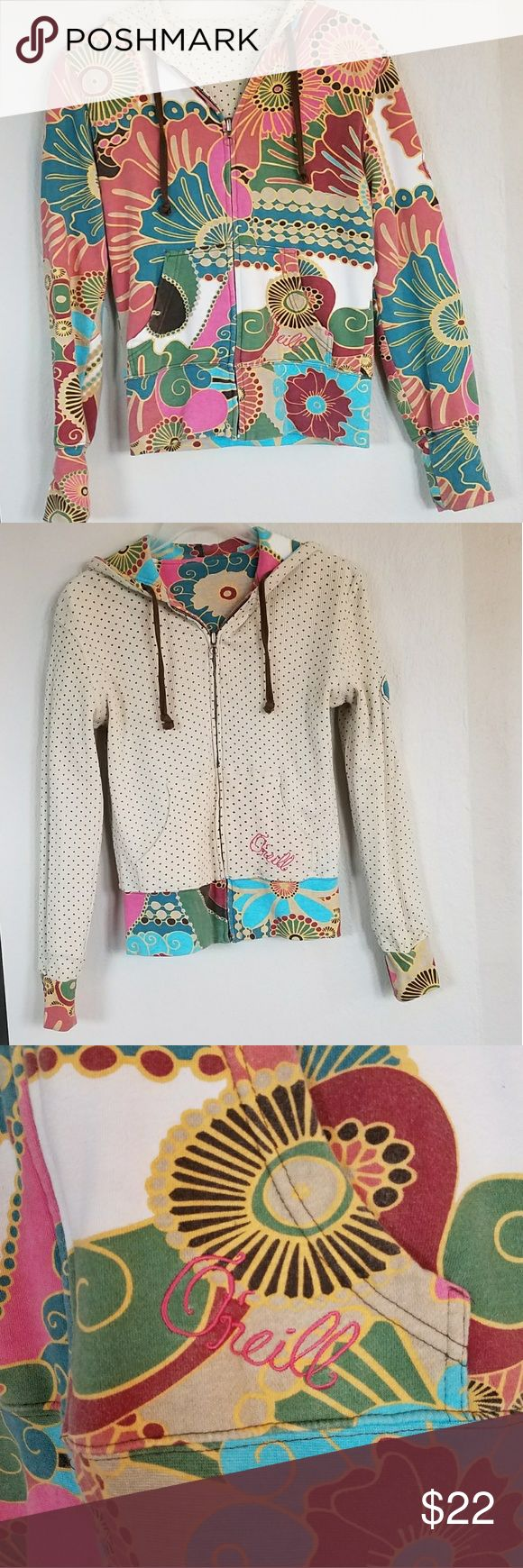 Reversible O'Neill zip up Reversible O'Neill zip up cute floral pattern on one side and tan and brown polka dots on other O'Neill Tops Sweatshirts & Hoodies