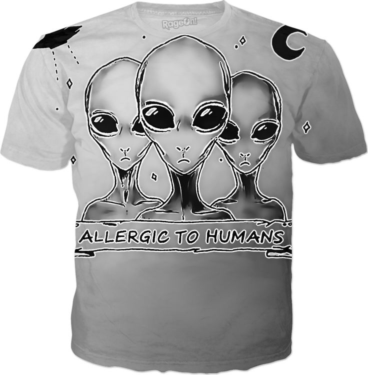 Funny Aliens, allergic to humans, gray extraterrestrials, ufo shirt design alien, watching you, allergic, grunge, hipster, extraterrestrial, ufo, science fictio