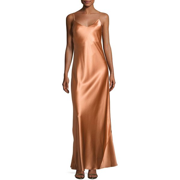 Galvan Alcazar Satin Crepe Gown ($875) ❤ liked on Polyvore featuring dresses, gowns, orange, v neck dress, v-neck dresses, orange dress, brown evening gowns and brown gown