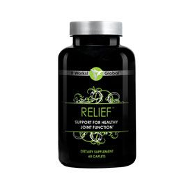 Relief | Tired of aches and pains in your joints? Relief promotes healthy, flexible joints with its highly effective Glucosamine and Chondroitin Sulfate Formula.