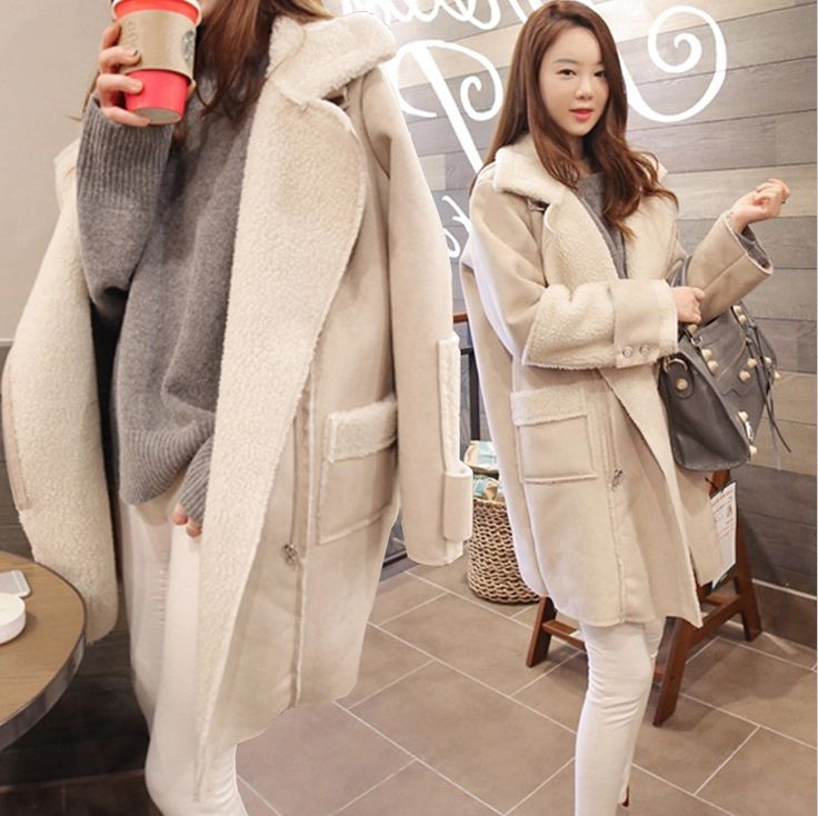 Women Loose Thick Lambskin CoatLong Section Cotton Jacket