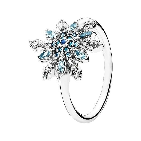 PANDORA 'Snowflake' Cubic Zirconia Ring (£60) ❤ liked on Polyvore featuring jewelry, rings, cz jewelry, sparkle jewelry, pandora rings, zirconia rings and pandora jewellery