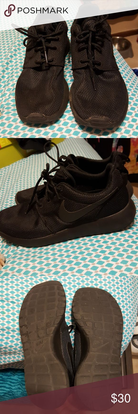 All Black Nike All black Nikes, soze 7.5. Perfect condition, very little dirt from the few times they were worn. Offers welcome Nike Shoes Athletic Shoes