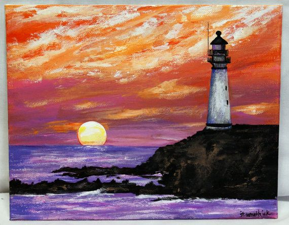 Lighthouse lighthouse painting sunset sunset by ThisArtToBeYours, $85.00
