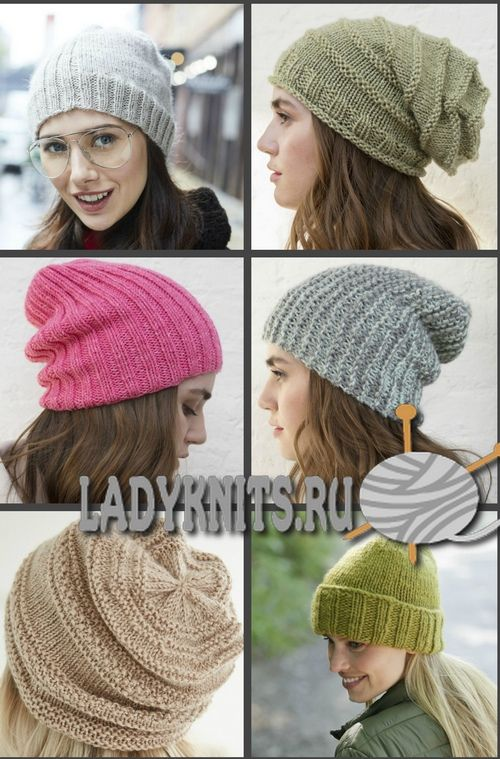 простые вязаные шапки спицами подборка моделей с описанием шапки