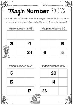MAGIC NUMBER SQUARES Christmas Puzzles & Activities Pack 1st~3rd Grade by Markers and Mochas | Teachers Pay Teachers