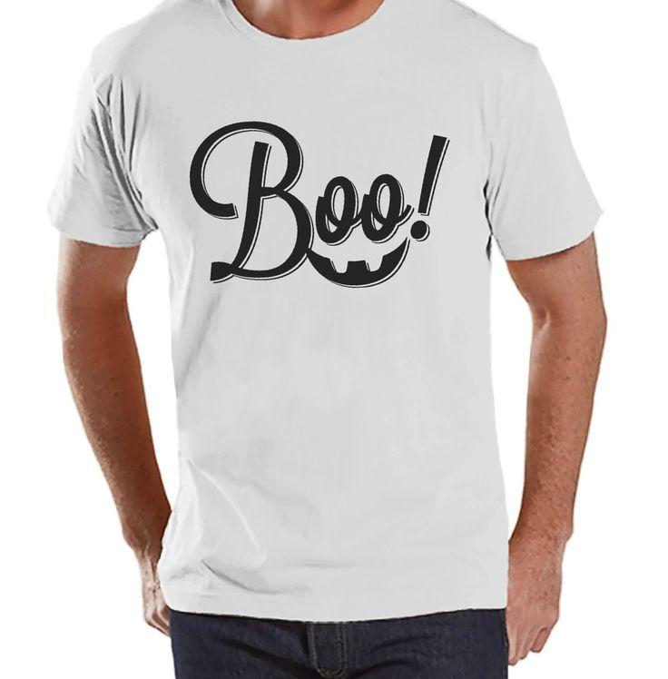 Men's Boo! Halloween Shirt - Adult Halloween Costumes - Funny Men's Shirt - Mens Costume Tshirt - Mens White T-shirt - Happy Halloween Shirt