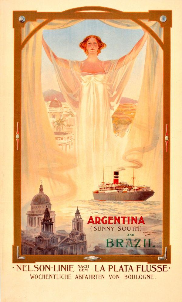 Eredeti vintage plakátok -> Utazási Plakátok -> Argentína Brazília szecessziós Nelson Cruise Ship Line - AntikBar