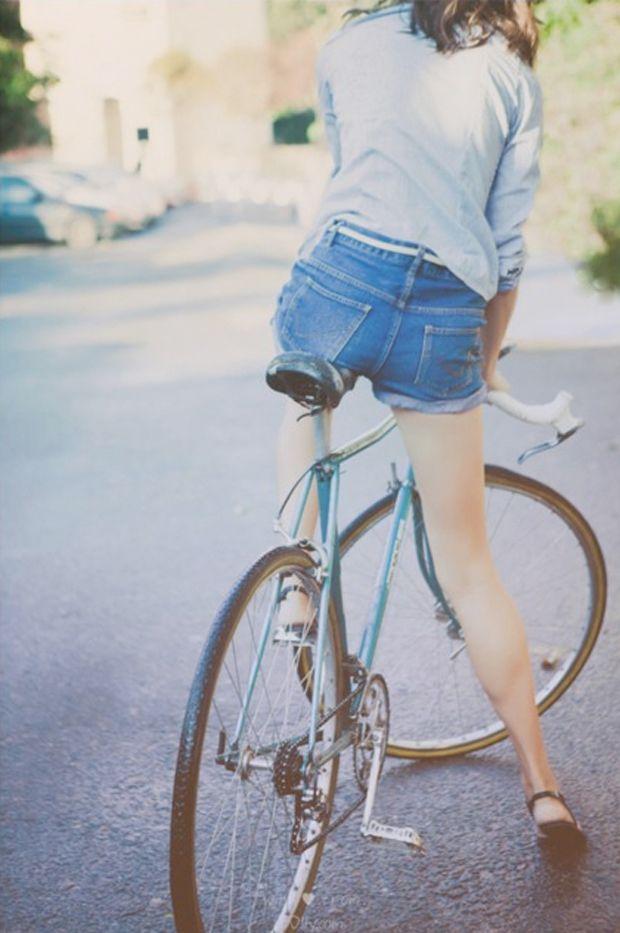 Summer Bike Style Demin Cut-offs on Iva Jean