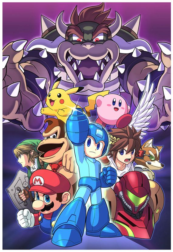 Mega Man joins the battle! The iconic Blue Bomber has joined the roster in Super Smash Bros. for Nintendo 3DS and Wii U! This 13x19 inch poster