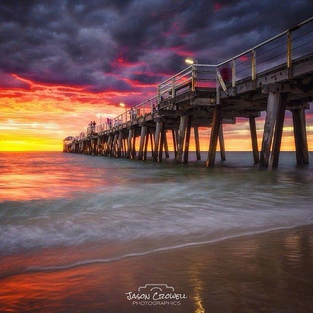 Serious sunset over #Grange jetty on #Adelaide's coast. Amazing photo from @jasoncrowellphoto