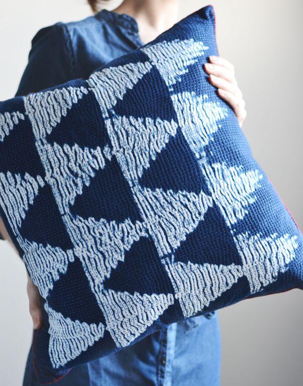 shibori dye indigo cushion