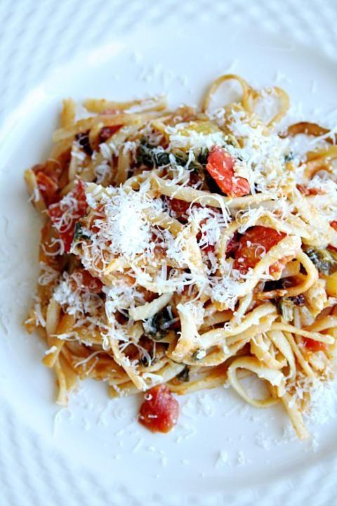 One PotTomatoe, Red pepper, and Chardlinguine - heathersfrenchpress.com #pasta